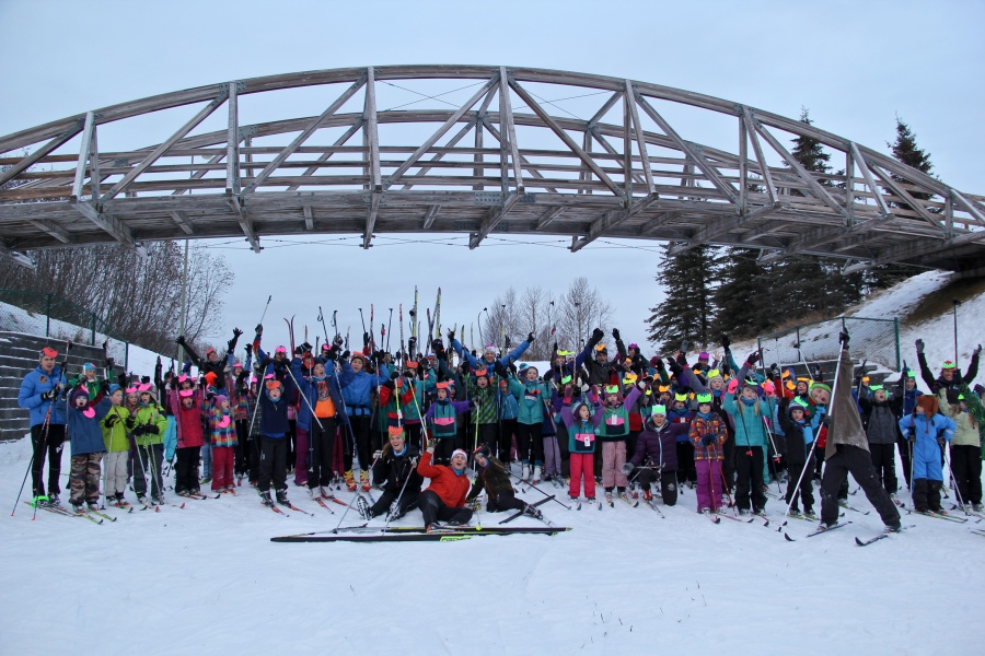 Coaching with Lickity Splits Ski Camp for Kids.