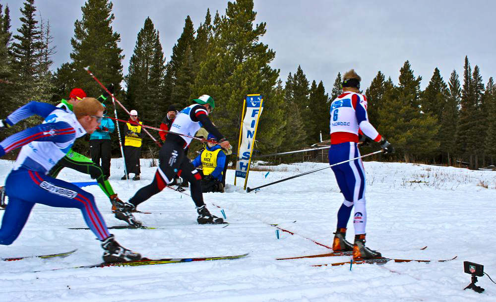 Finish of the my semi-final heat.  I was boxed out early on, but got lucky when a lane opened up for me in the finish. (Fasterskier.com photo)