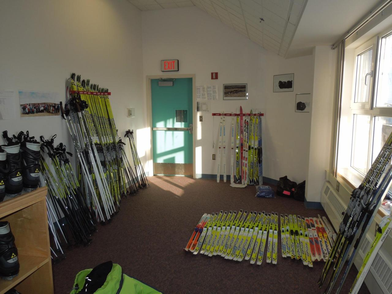 The ski room!  We brought 50 sets of skis, boots, and poles.  A bunch of the skis were left behind for the kids to use throughout the coming year.