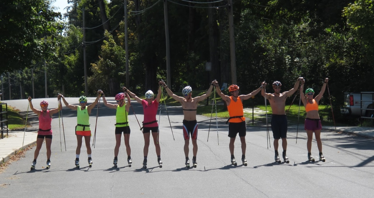 The team at the finish!  From left to right:  Jessie Diggins, Erika Flowers, Sophie Caldwell, Annie Pokorny, Myself, Ben Saxton, Skyler Davis, and Annie Hart.
