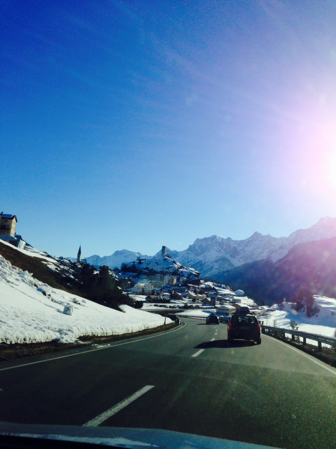 Driving into the Engadin Valley.