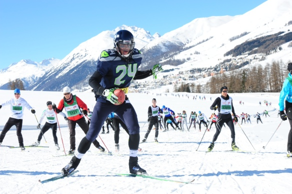 Tony also skied the whole 42k in a Marshawn Lynch costume, complete with regulation pads, jersey, and helmet. To make it authentic, he went with no poles cradled a football. It was awesome! Thanks Tony!