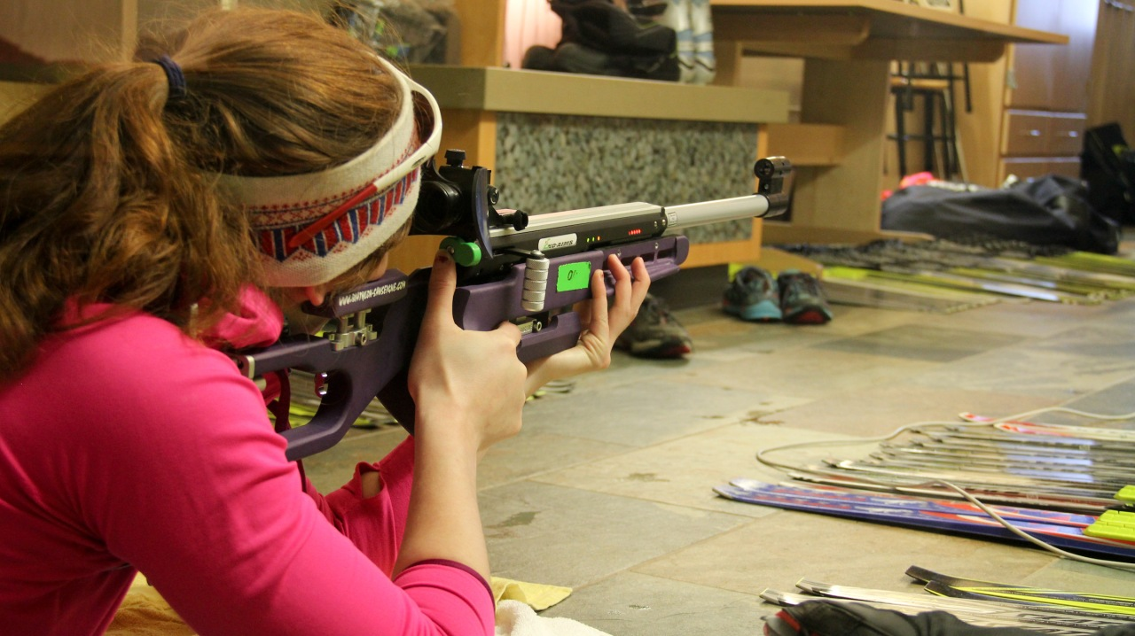 One of the cool activities we did with the kids was introduce biathlon with infrared rifles.
