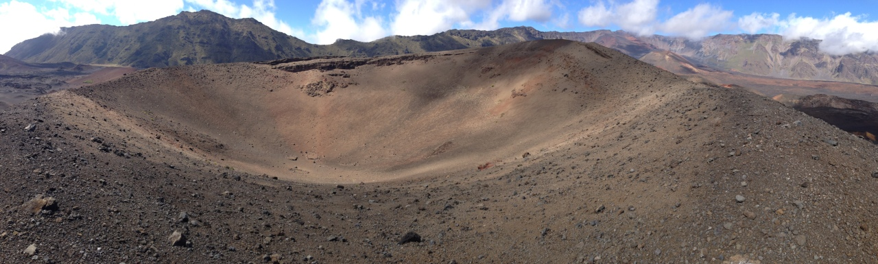 The top of one of the cinder cones, evidence of recent volcanic activity in the valley.