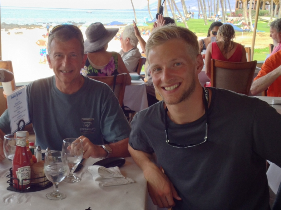 Enjoying some recovery food with my dad!