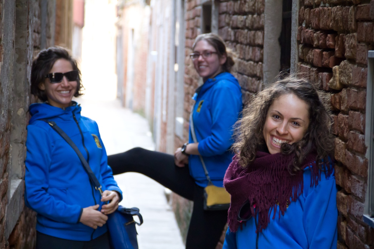 "The narrow ""streets"" of Venice form a labyrinth through the city.  The girl band shot."