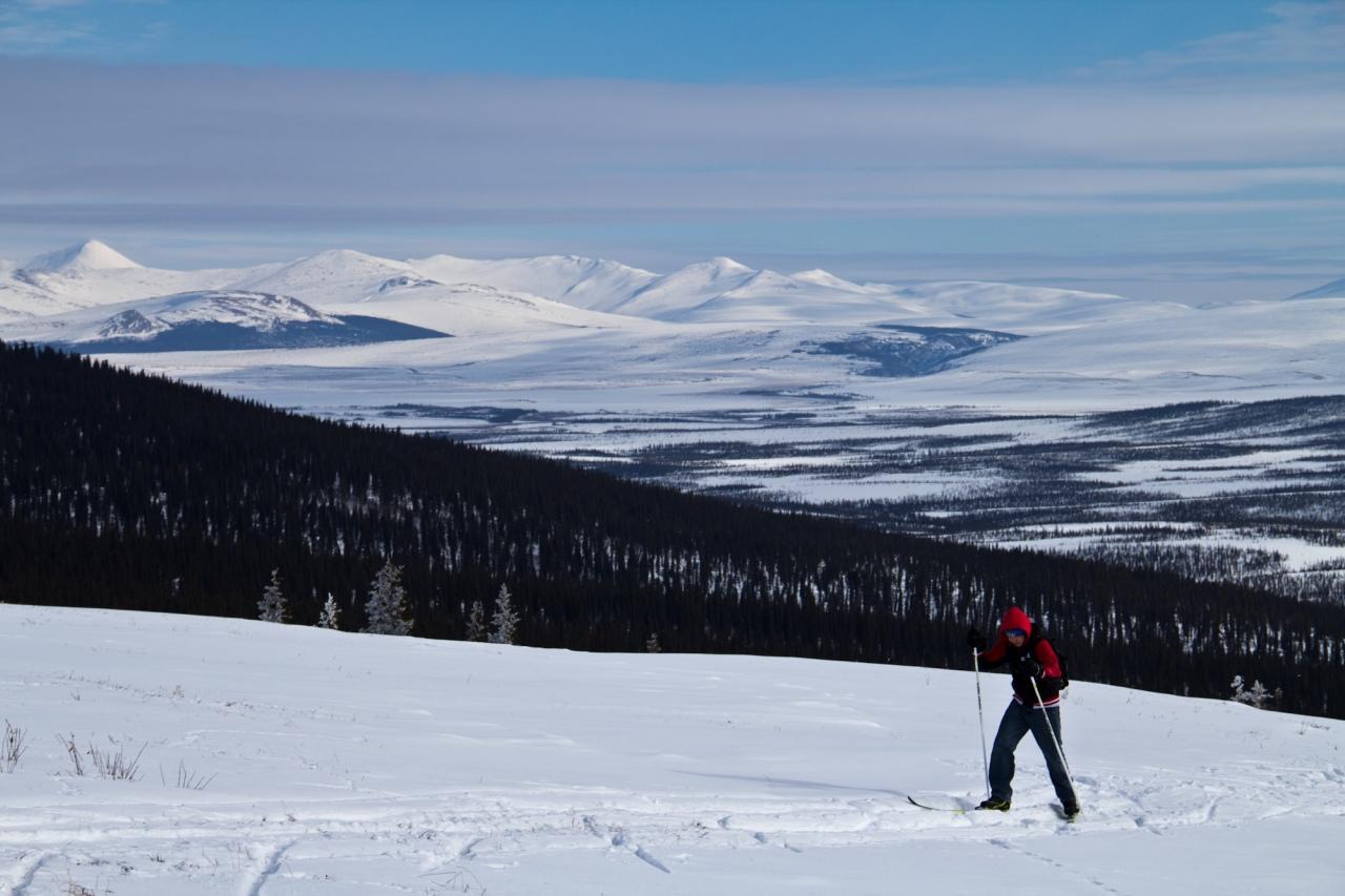 Freshman Bryton Gregg finishing off a 15k ski.