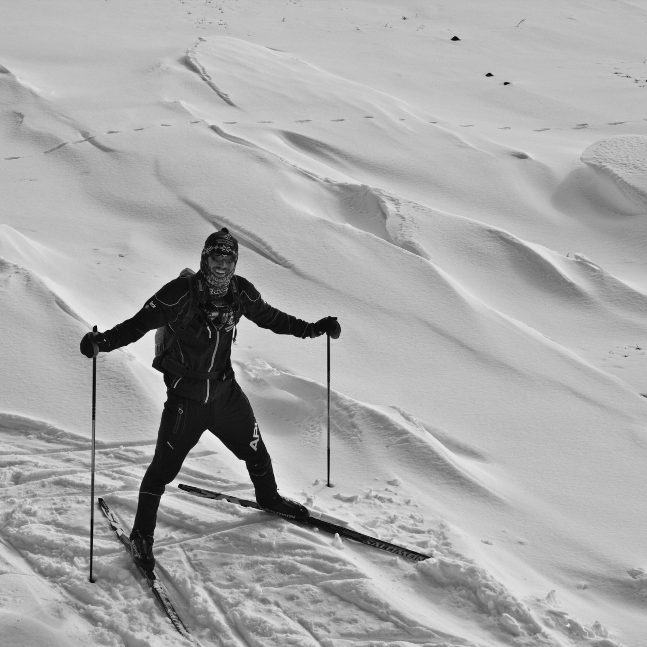 Galen near the top of the ski.