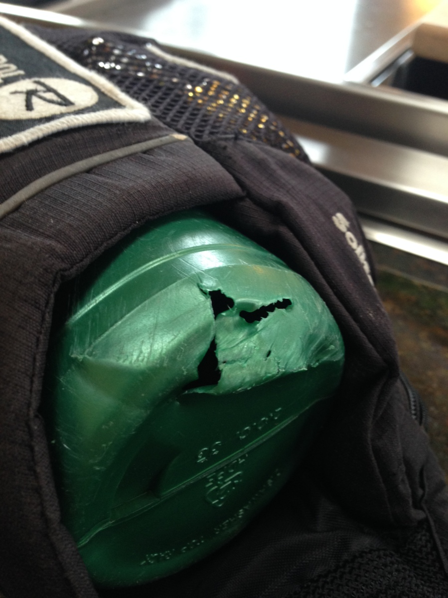 My water bottle belt took some hits on the way down, and a rock puntured the water bottle.